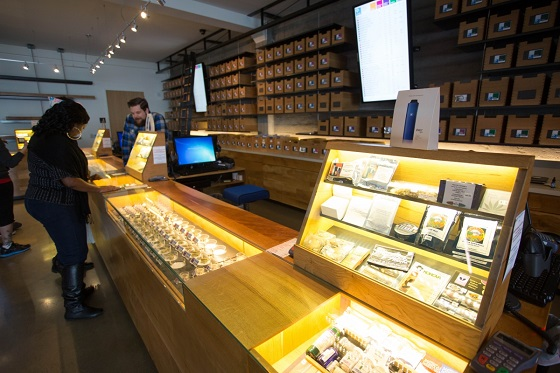 Medical patients shopping at a cannabis dispensary