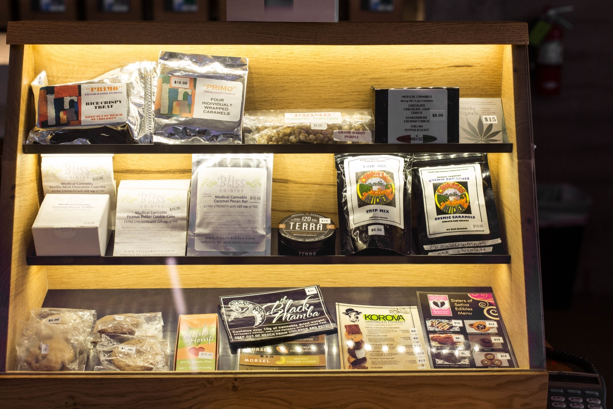 edible cannabis products on display at a dispensary