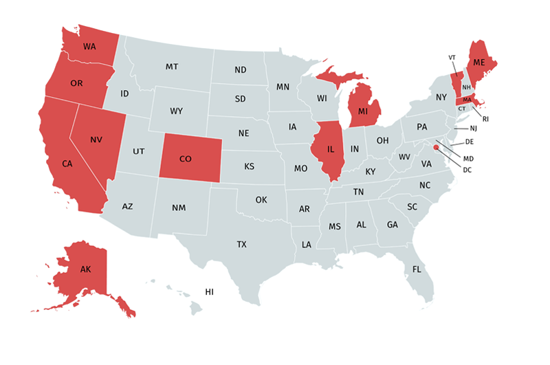Map showing states where marijuana is legal for adult use
